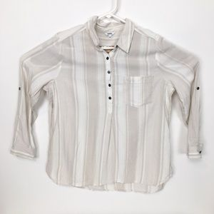 Sonoma tan white striped half button up blouse PL
